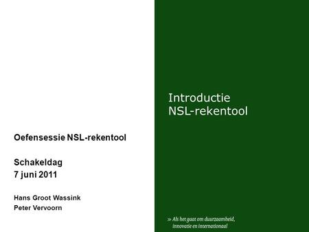 Introductie NSL-rekentool