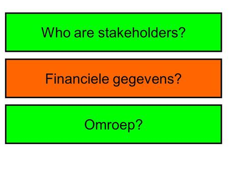 Who are stakeholders? Financiele gegevens? Omroep?