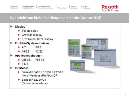 "1 Overzicht van kleine bedienpanelen IndraControl VCP  Display  Tekstdisplay  Grafisch display  5,7"" Touch, STN-Display  Funktie-/Systeemtoetsen "
