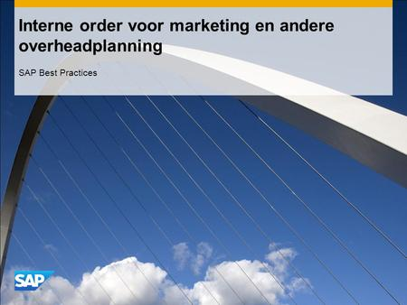 Interne order voor marketing en andere overheadplanning SAP Best Practices.