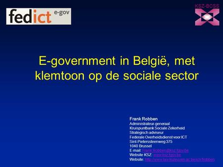 E-government in België, met klemtoon op de sociale sector