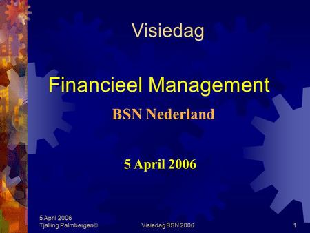5 April 2006 Tjalling Palmbergen©Visiedag BSN 20061 Visiedag Financieel Management 5 April 2006 BSN Nederland.