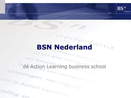 Dé Action Learning business school BSN Nederland.