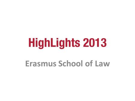 Erasmus School of Law.