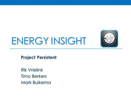 ENERGY INSIGHT Project Persistent Rik Vrielink Timo Berkers Mark Buikema.