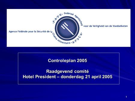 1 Controleplan 2005 Raadgevend comité Hotel President – donderdag 21 april 2005.