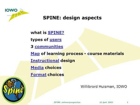 25 juni 2003SPINE ontwerpaspecten1 SPINE: design aspects Willibrord Huisman, IOWO what is SPINE? types of usersSPINE?users 3 communitiescommunities MapMap.