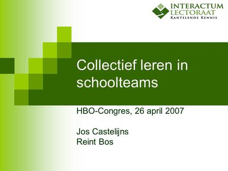 Collectief leren in schoolteams