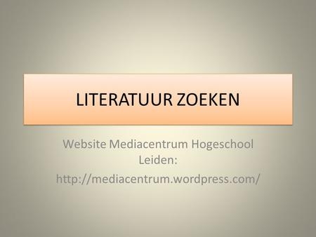 Website Mediacentrum Hogeschool Leiden: