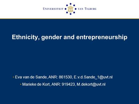 Ethnicity, gender and entrepreneurship