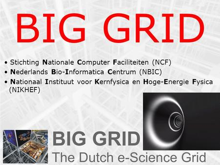 BIG GRID Stichting Nationale Computer Faciliteiten (NCF) Nederlands Bio-Informatica Centrum (NBIC) Nationaal Instituut voor Kernfysica en Hoge-Energie.