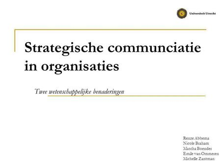 Strategische communciatie in organisaties