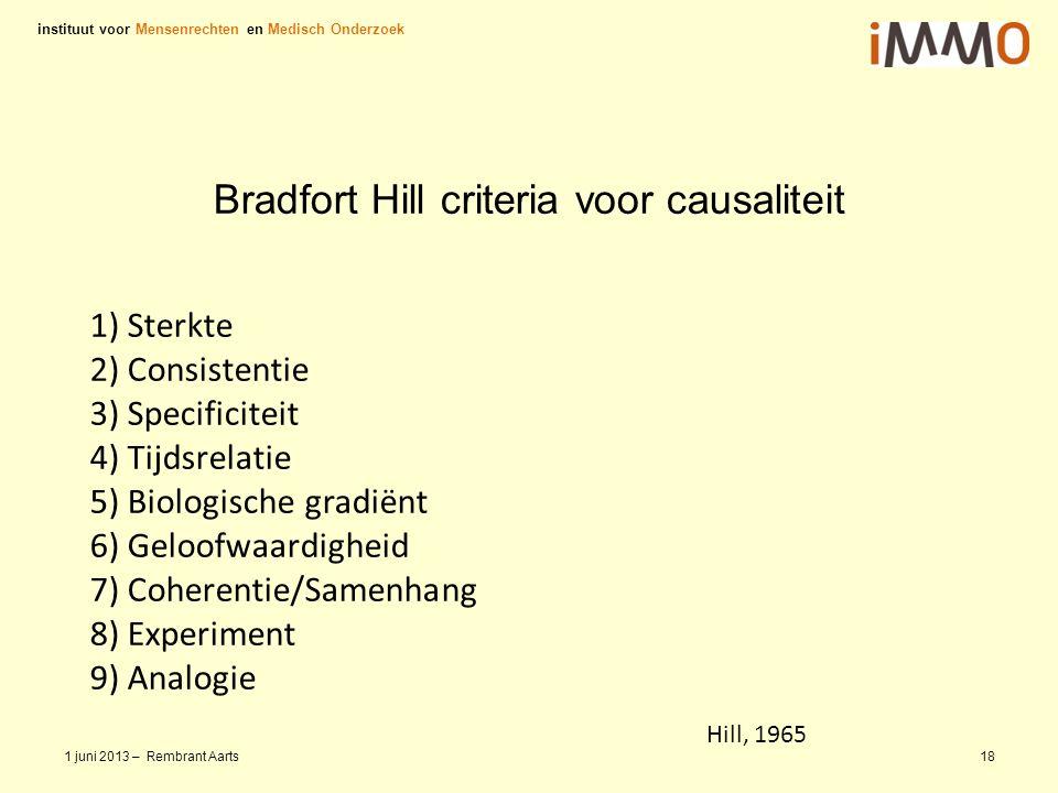 Take Home De Criteria van Bradfort Hill zijn bruikbaar voor de rapporteur en dragen bij aan: 1.Een theoretisch kader 2.Onderbouwing in het rapport instituut voor Mensenrechten en Medisch Onderzoek 1 juni 2013 – Rembrant Aarts19