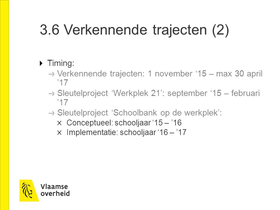 a.Werkplek 21 Trekker: SYNTRA Vlaanderen, samen met VDAB en Dept.