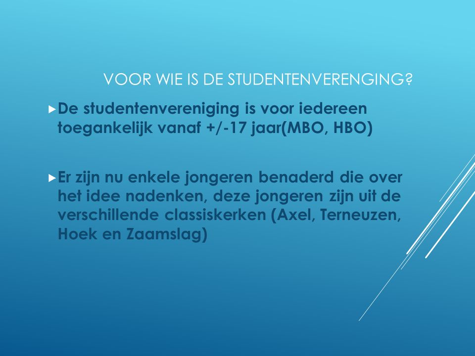 VOOR WIE IS DE STUDENTENVERENGING.