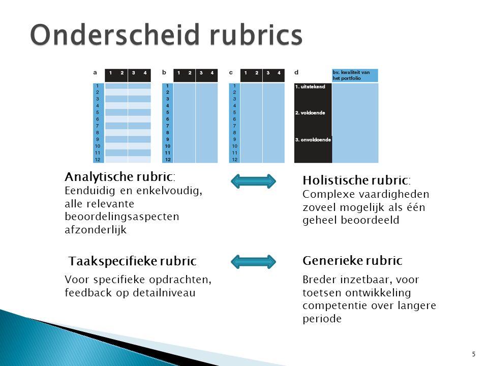 Summatief gebruik rubrics Met rubric cijfer geven voor geleverd werk Indicatoren zijn afgeleid van standaarden of doelen 6 Validiteit M eet je met rubric wat je wilt meten.