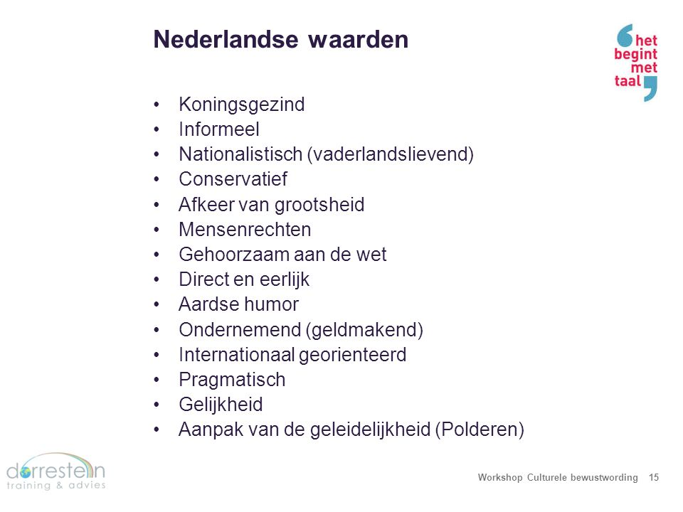 Nederlandse uitingen Workshop Culturele bewustwording16