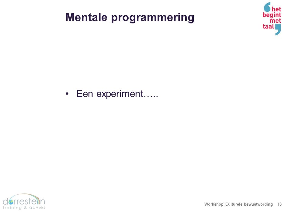 Een experiment… Workshop Culturele bewustwording19