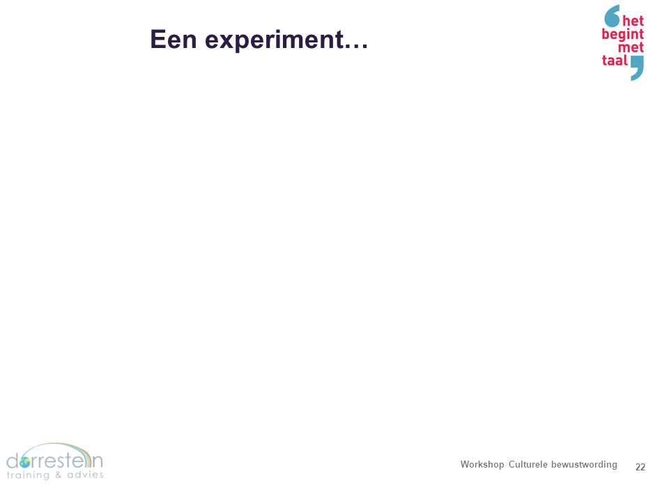 Een experiment… Workshop Culturele bewustwording23