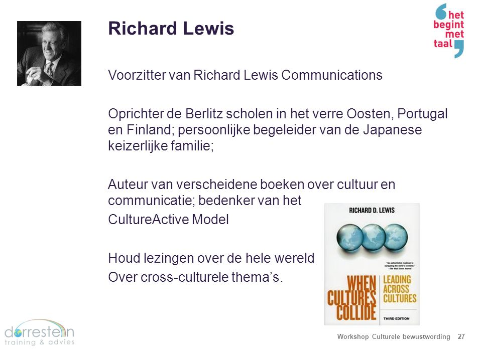 Het Lewis Model Workshop Culturele bewustwording28 De categorisering van culturen Mentale programmering van de mens Communicatie patronen Luister gewoonten Presentatie en toehoordersverwachtingen Leiderschap en Managementtaal Motivatoren Tijd en ruimte