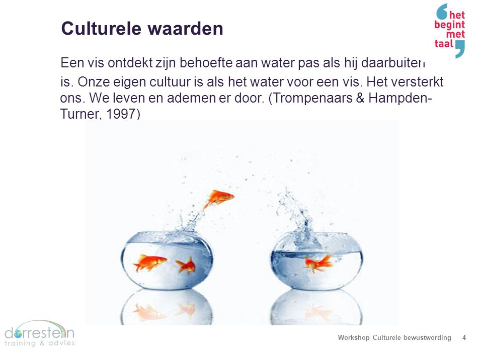 We zien de wereld niet zoals deze is, maar zoals wijzelf zijn… Workshop Culturele bewustwording5 How you see the world depends on where you sit.