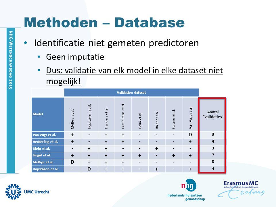 Methoden – Database Identificatie missende waarden Enkelvoudig imputatie (SI) op dataset niveau Predictoren of uitkomst voorspellen o.b.v.