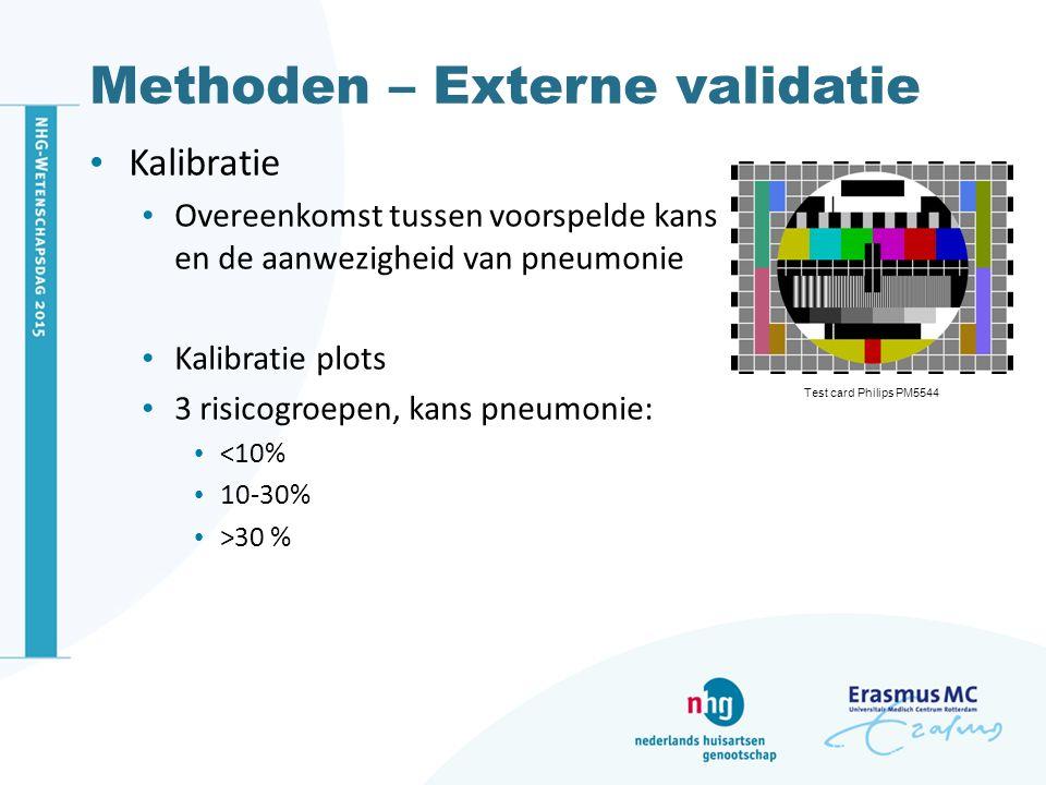Resultaten – Kalibratie Twee modellen acceptabele kalibratie Extreme kansen problematisch Overige modellen slechte kalibratie