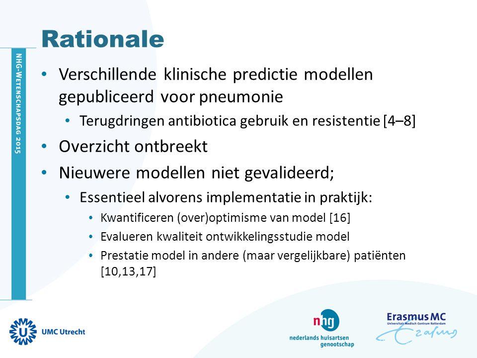 Doel Evaluatie statistische robuustheid Alle op symptomen gebaseerde predictie modellen ( klinische modellen ) Voor diagnose pneumonie In externe databronnen Met gemengde eerstelijns patiënten populatie Welk model is het meest geschikt voor de eerste lijn ?
