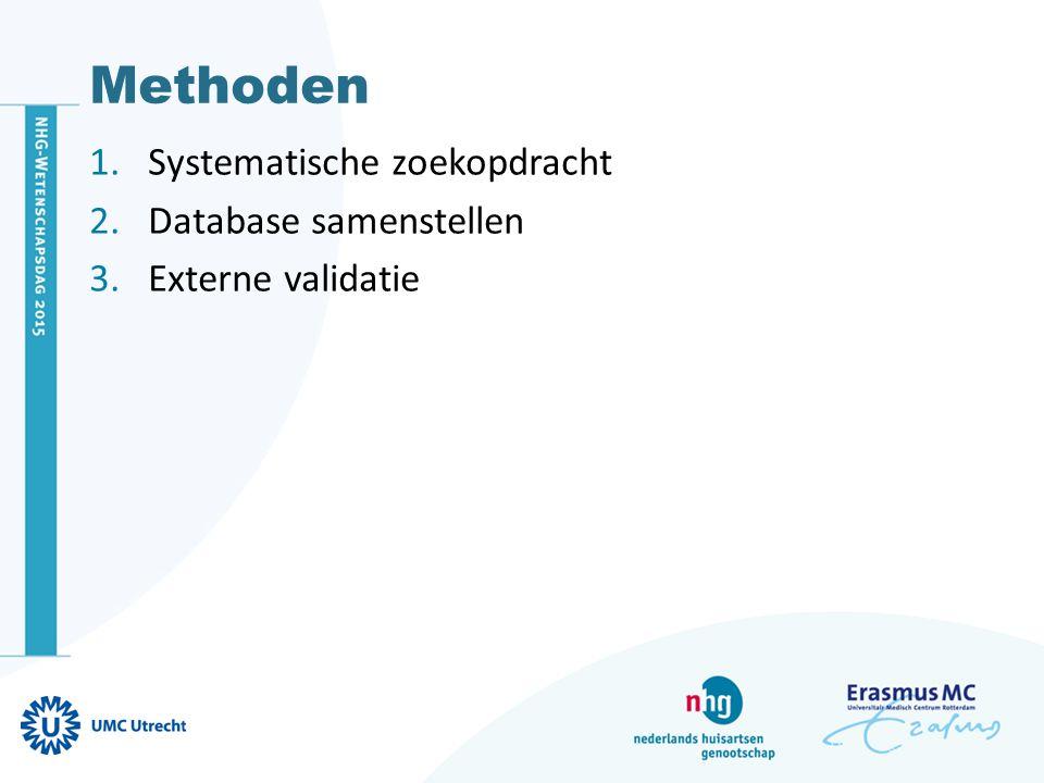 Methoden 1.Systematische zoekopdracht Eerstelijns patiënten met acute hoest Diagnostiek naar pneumonie (e.g.