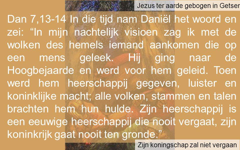 Dan 7,13-14 In die tijd nam Daniël het woord en zei: In mijn nachtelijk visioen zag ik met de wolken des hemels iemand aankomen die op een mens geleek.