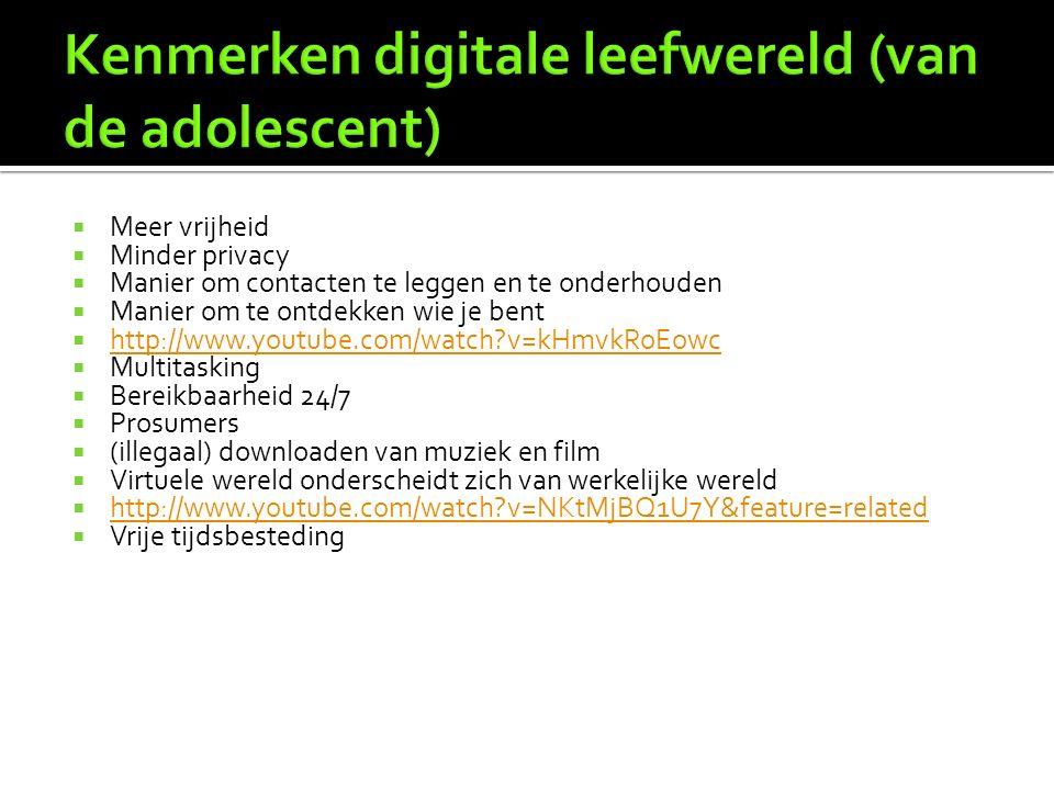  Webcam  Chatbox  MSN  Hyves/facebook  Google ( andere zoekmachines )  E-mail  Websites / Weblogs  Skype  Twitter