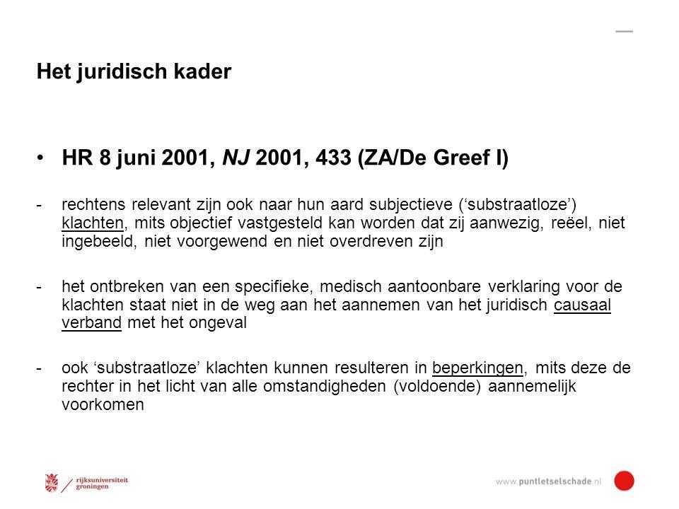 Ondank kritiek: ZA/De Greef I de basis voor veel 'rechtbankjurisprudentie' Ook Gerechtshoven gaandeweg op één lijn Hof Amsterdam 18 juni 2013, ECLI:NL:GHAMS:2013:5237 Rechtbank: - geen beperkingen, want benoemde neuroloog duidt geen medische beperkingen (conform NVN 2007) wegens ontbreken substraat - niet duidelijk gemaakt dat en waarom een andere deskundige beter geëquipeerd zou zijn om beperkingenvraag te beantwoorden -> Gedachtenwisseling Haase/Kolder PIV-Bulletin 2012, nr.