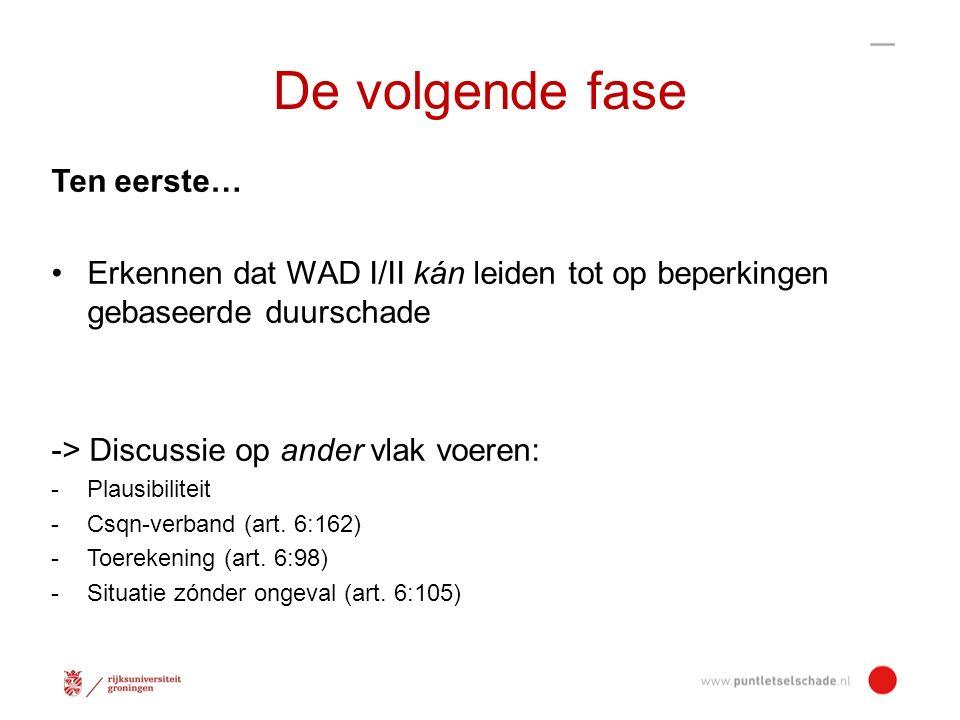 Ten tweede… Primair aanspraak op herstel; financiële vergoeding als secundaire optie Fase 1 (herstel) Herstellen gaat vóór betalen -Akkermans, TVP 2003-4, p.