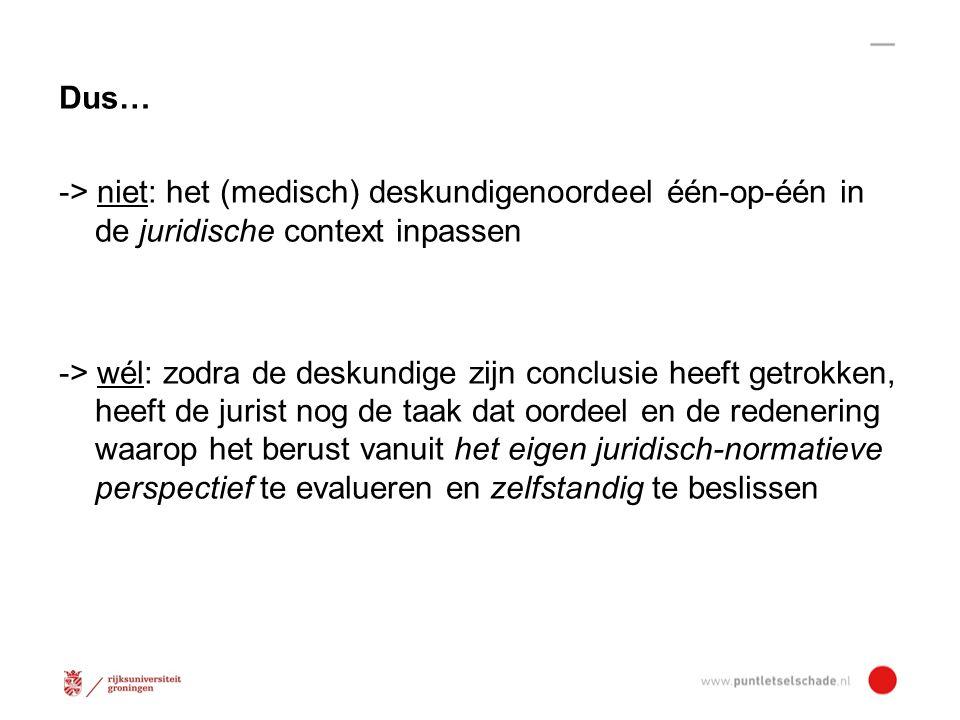 Het juridisch-normatieve kader -> vergelijkingshypothese - (feitelijke) situatie mét ongeval - hypothetische situatie zónder ongeval 'Gespiegelde' standpunten -> slachtoffer negatief over sit.