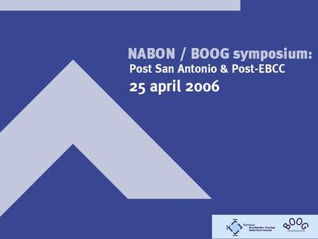 WELKOM Medesponsors: Amgen, Bristol-Myers Squibb, Eli Lilly, Ortho-Biotech, Pfizer Oncology, Pierre Fabre, Schering-Plough Hoofdsponsors: