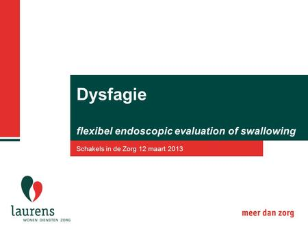 Dysfagie flexibel endoscopic evaluation of swallowing Schakels in de Zorg 12 maart 2013.