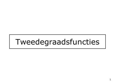 Tweedegraadsfuncties