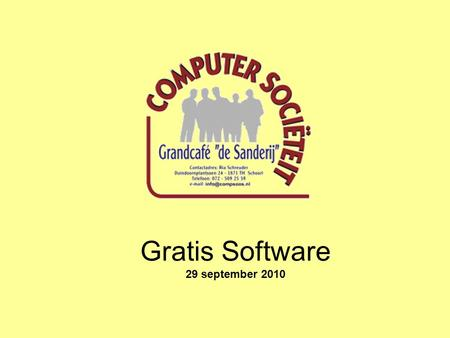 Gratis Software 29 september 2010.
