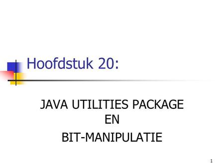 JAVA UTILITIES PACKAGE EN BIT-MANIPULATIE