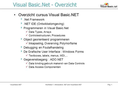 Hoofdstuk 1 : Introductie to.NET and Visual Basic.NETVisual Basic.NETPag. 1 Visual Basic.Net - Overzicht Overzicht cursus Visual Basic.NET .Net Framework.