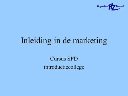 Inleiding in de marketing