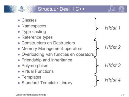 P. 1 Vakgroep Informatietechnologie Structuur Deel II C++ Classes Namespaces Type casting Reference types Constructors en Destructors Memory Management.