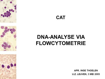 CAT APR. INGE THOELEN DNA-ANALYSE VIA FLOWCYTOMETRIE U.Z. LEUVEN, 3 MEI 2005.