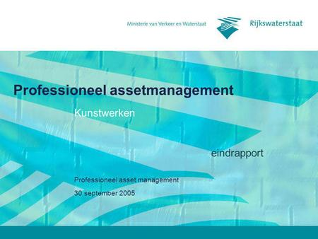 30 september 2005 Professioneel asset management Kunstwerken eindrapport.