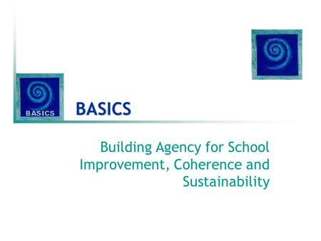BASICS Building Agency for School Improvement, Coherence and Sustainability.