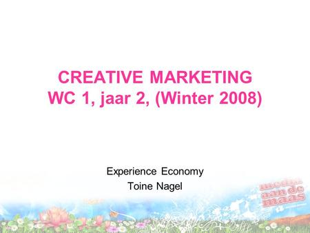 CREATIVE MARKETING WC 1, jaar 2, (Winter 2008) Experience Economy Toine Nagel.