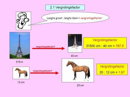 Vergrotingsfactor 2 1 vergrotingsfactor lengte groot lengte klein