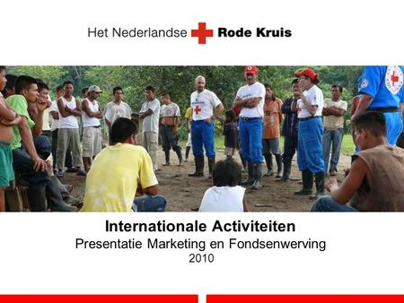 Internationale Activiteiten Presentatie Marketing en Fondsenwerving 2010.