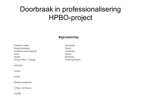 Doorbraak in professionalisering HPBO-project