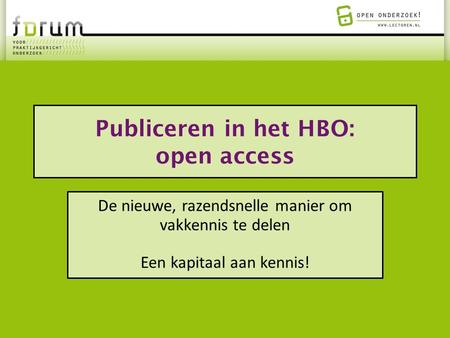 Publiceren in het HBO: open access